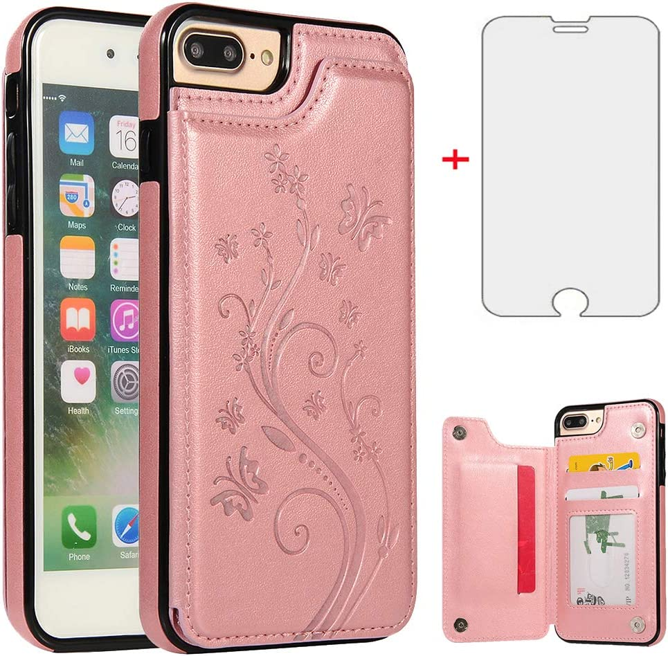 Phone Case for iPhone 7plus 8plus 7/8 Plus with Tempered Glass Screen Protector and Card Holder Wallet Cover Flip Leather Cell Accessories i Phone7s 7s + 7+ 8s 8+ Phones8 Cases Women Rose Gold