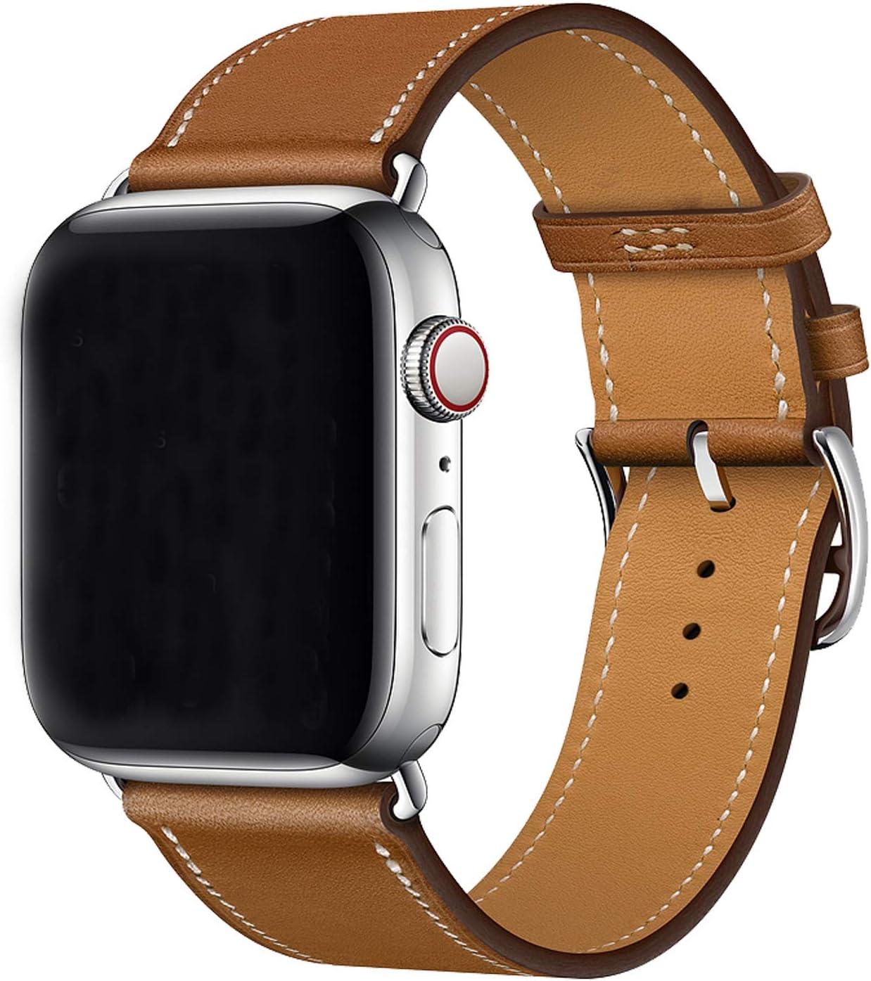 XCool para Correa Apple Watch 38mm 40mm, Cuero Rojo Rosado Naranja Azul para Hombres Mujer para iwatch Serie 4 Serie 3 Serie 2 Serie 1 (38mm/40mm, Marrón)