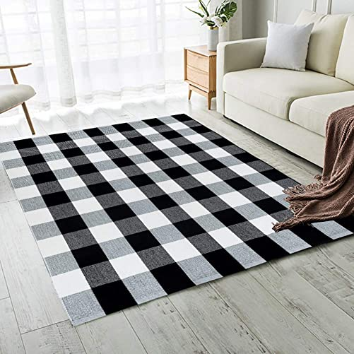 Carvapet Buffalo Checkered Rug Black White Checkered Carpet Buffalo Plaid Rugs 5 x 8 Feet Machine Washable Area Rug for Bedroom Living Room