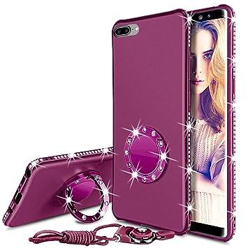 Funda iPhone 8 Plus/7 Plus, Bling Estuche anillo caballete diamantes imitación Brillante Cubierta protectora todo cuerpo protector pantalla vidrio ...