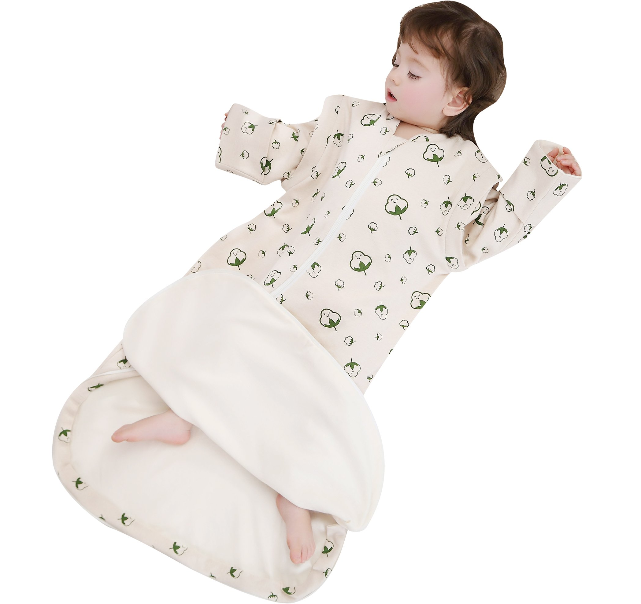 luyusbaby Sleeping Bag Organic Cotton Thickened Removable Sleeves Baby Wearable Blanket, for Spring Fall by luyusbaby