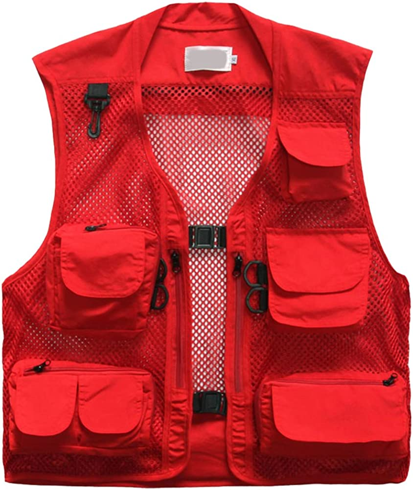 Colletto con Cappuccio OCHENTA Giubbotto da Uomo Pesca Fotografia Caccia per Campeggio Traforato con Tasche Multiple Stile Casual