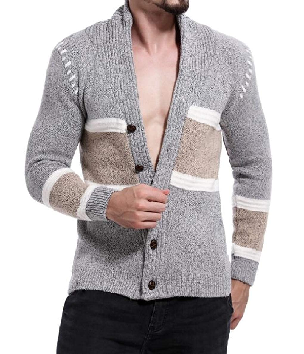 Winwinus Men Assorted Colors V Neck Autumn Winter Cardigan Knit Long-Sleeve Sweaters