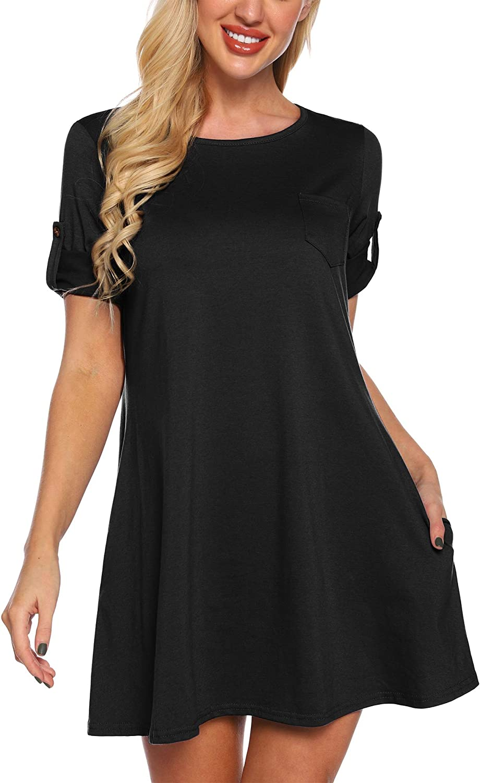 SATINIOR Women's Casual Tunic Dress Cuffed Sleeve Round Neck T Shirt Swing Dress with Pocket
