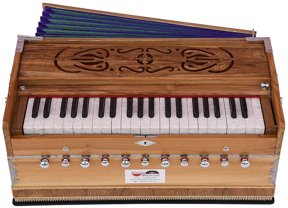 Harmonium Teak Wood By Kaayna Musicals, 11 Stops- 6 Main & 5 Drone, 3½ Octaves, Coupler, Natural Wood Color, Gig Bag, Bass/Male Reed- 440 Hz, Best for Yoga, Bhajan, Kirtan, Shruti, Mantra, etc by Kaayna Musicals (Image #4)