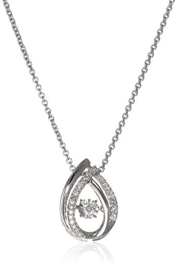 Amazon sterling silver dancing diamond drop pendant necklace 1 sterling silver dancing diamond drop pendant necklace 110 cttw 18quot aloadofball Images