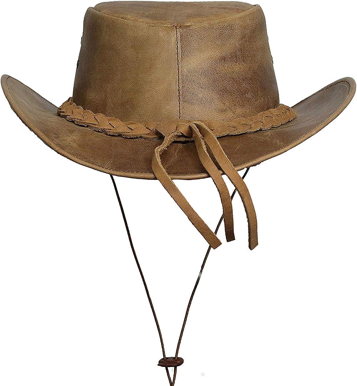 BRANDSLOCK Mens Vintage Grande Bordo del Cowboy Australiano di Stile Occidentale Bush Cappello con Chin Cord