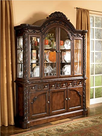 Ashley D5538081 North Shore Buffet With Hutch Furniture Grade Resin Framed  Drawer Fronts And Felt