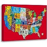Amazon.com: TORASS Canvas Wall Art Print Green Usa License Plate Map ...