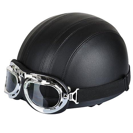 FREESOO Casco Abierto Protección para Motocicleta Scooter Bicicleta 54-60cm Ajustable con Visera UV Gafas