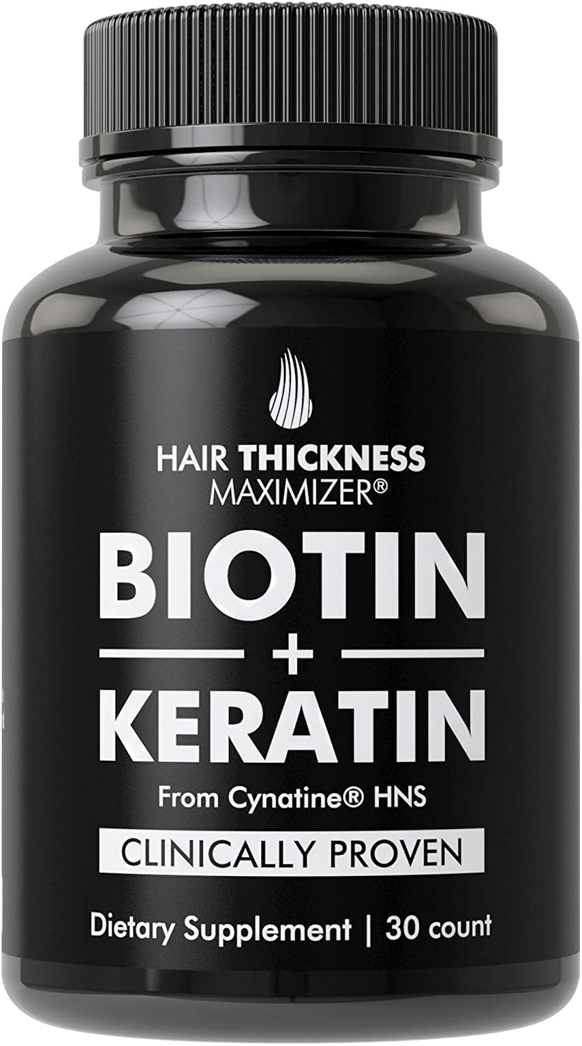 Biotin 10000mcg + Clinically Proven Keratin for Hair Growth. Vegan Regrowth Capsules Supplement for Men & Women. Organic Coconut Oil, 10000 mcg B7 Vitamins, Cynatine Keratin. DHT Blocker, Hair Loss