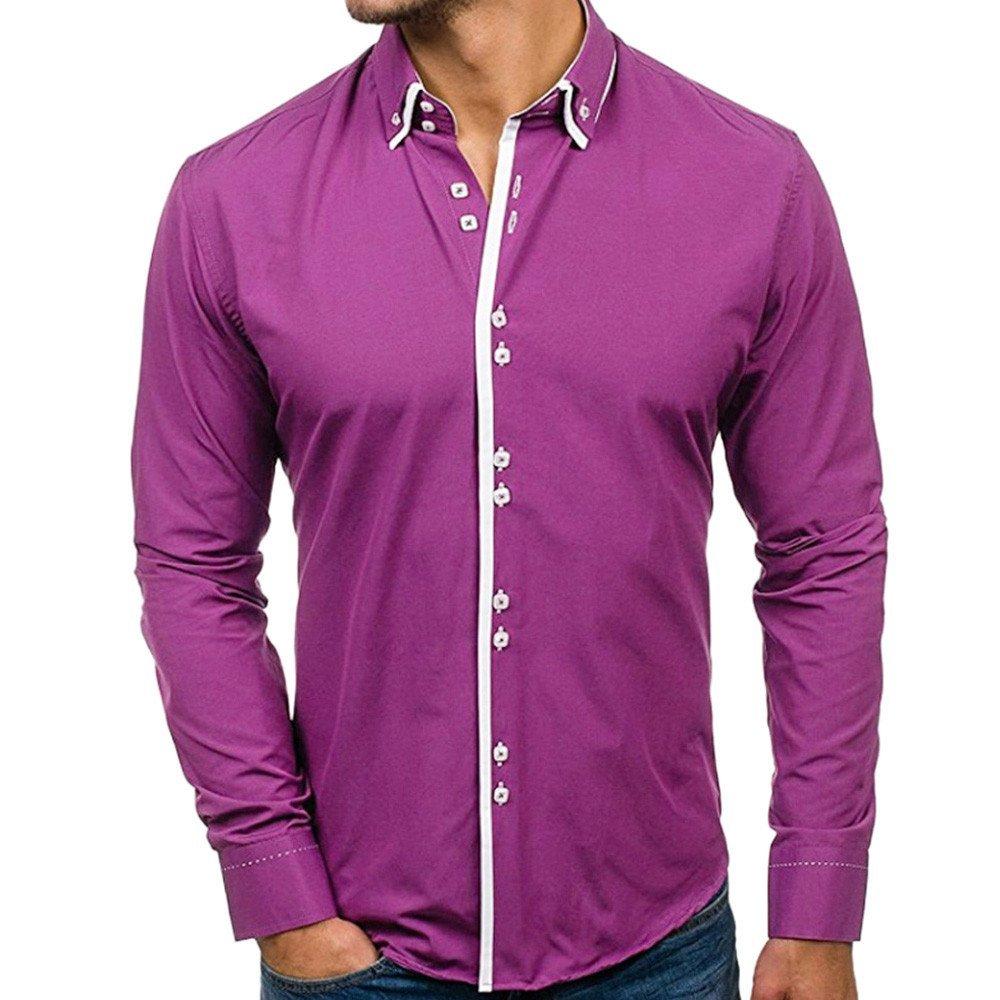 Shirts For Men, HOT SALE !! Farjing Men's Autumn Casual Formal Slim Fit Solid Long Sleeve Shirt Top Blouse(XL,Purple)
