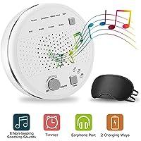 Machine de Bruit Blanc, Kriogor Appareil de sommeil therapie 8 Thérapie Apaisante pour Bébés et Adultes, 3 Réglages de Minuterie, USB ou Alimenté par Batterie avec Prise D'écouteur de 3,5 mm