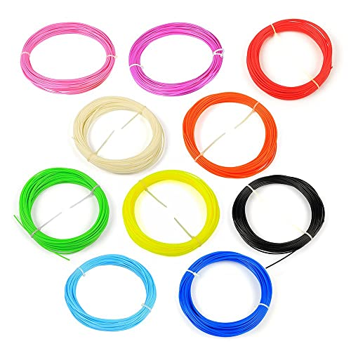 WOL3D (10 in 1) 10 pcs * 5m each Pla 3D Pen Filament 5m each With Free Plastic Box