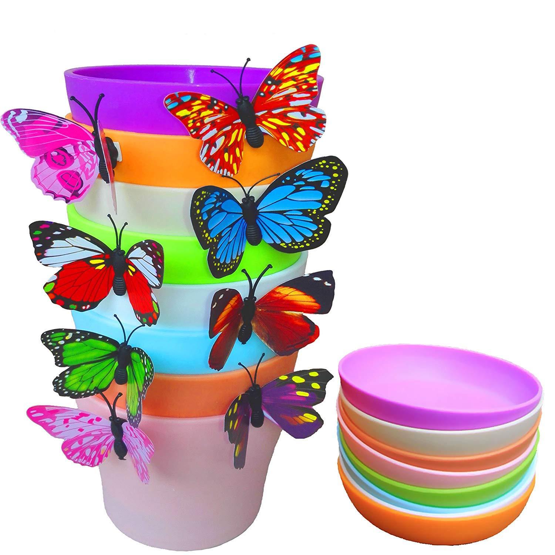 QUIET 8 Colors Cute Mini Colorful Plastic Flower Pots Planters With Saucers,Seedlings Flower Seeds Germination Succulent Plants Pots