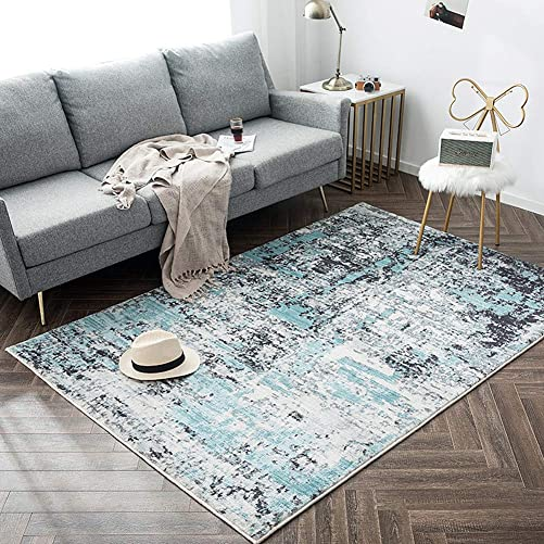 Ukeler Blue Abstract Modern Area Rug for Living Room Non-Slip Thicken Washable Accent Rugs for Bedroom Kids Room, 55 x79