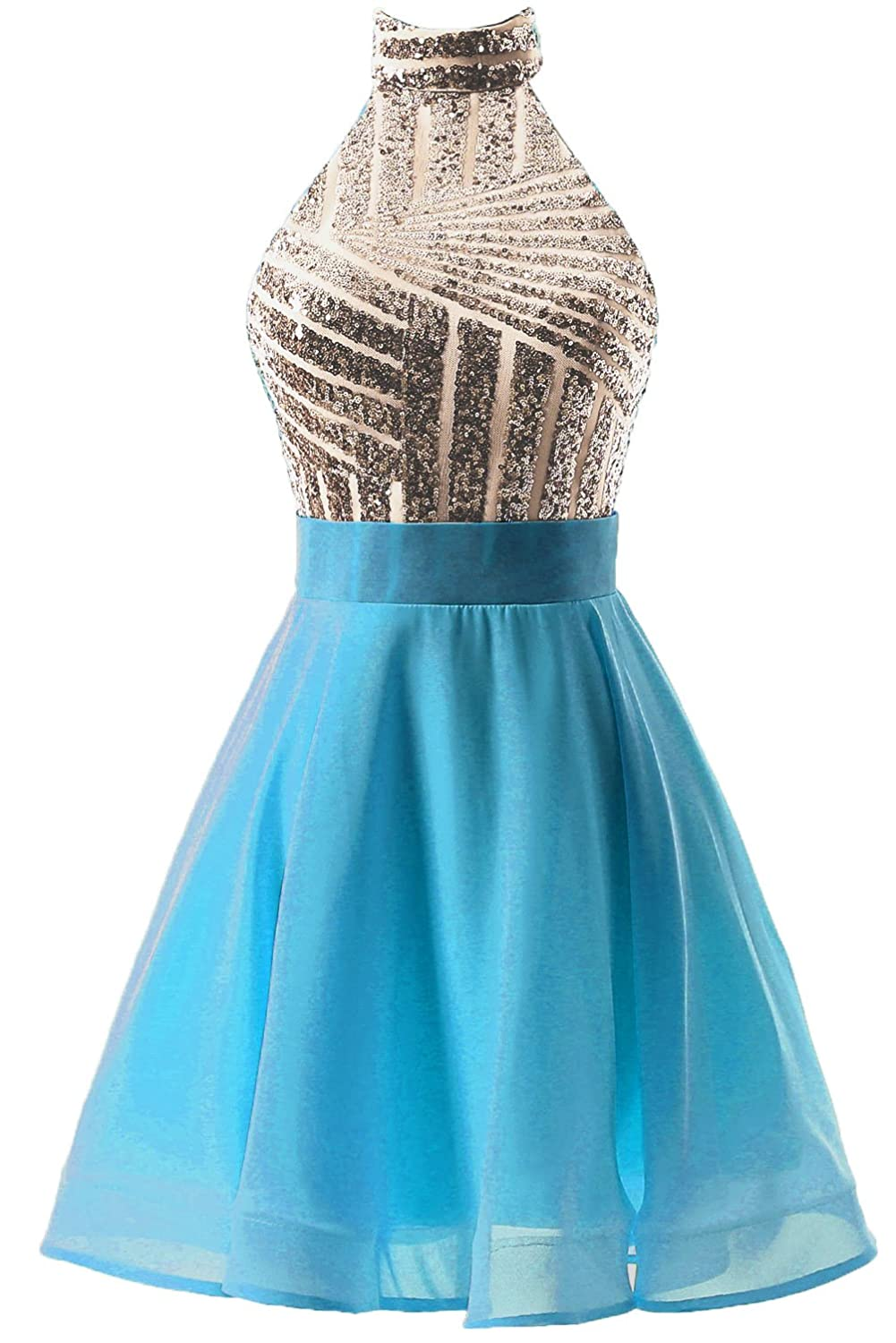 DYS Women\'s Short Halter Prom Party Dress Backless Homecoming Dress ...