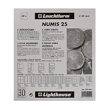 Leuchtturm 323463 Hojas para Monedas NUMIS, de 30 divisiones de 25 mm Ø