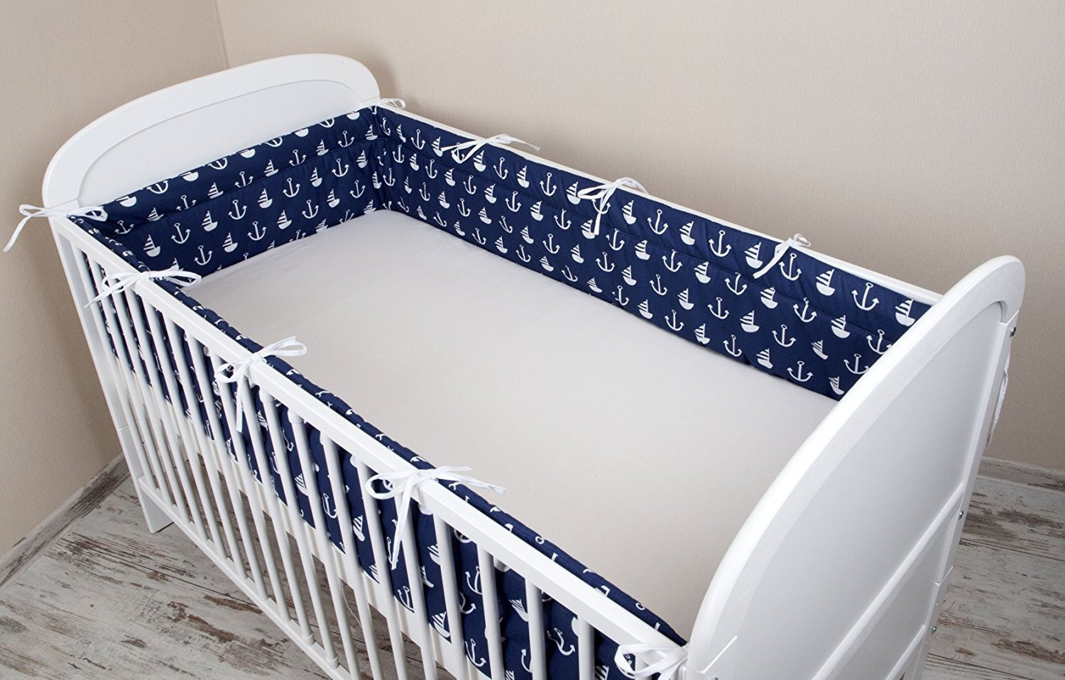 Amilian® Baby Cot Bumper Wrap Around Protection For Baby's Bed With Head Guard 100% hypo-Allergenic 100% Cotton Breathable and non-toxic materials Anti-allergic Anchor Print Navy Blue Available In 3 Sizes (420 cm x 30 cm) (360 cm 30 cm) (180 cm x 30 cm)