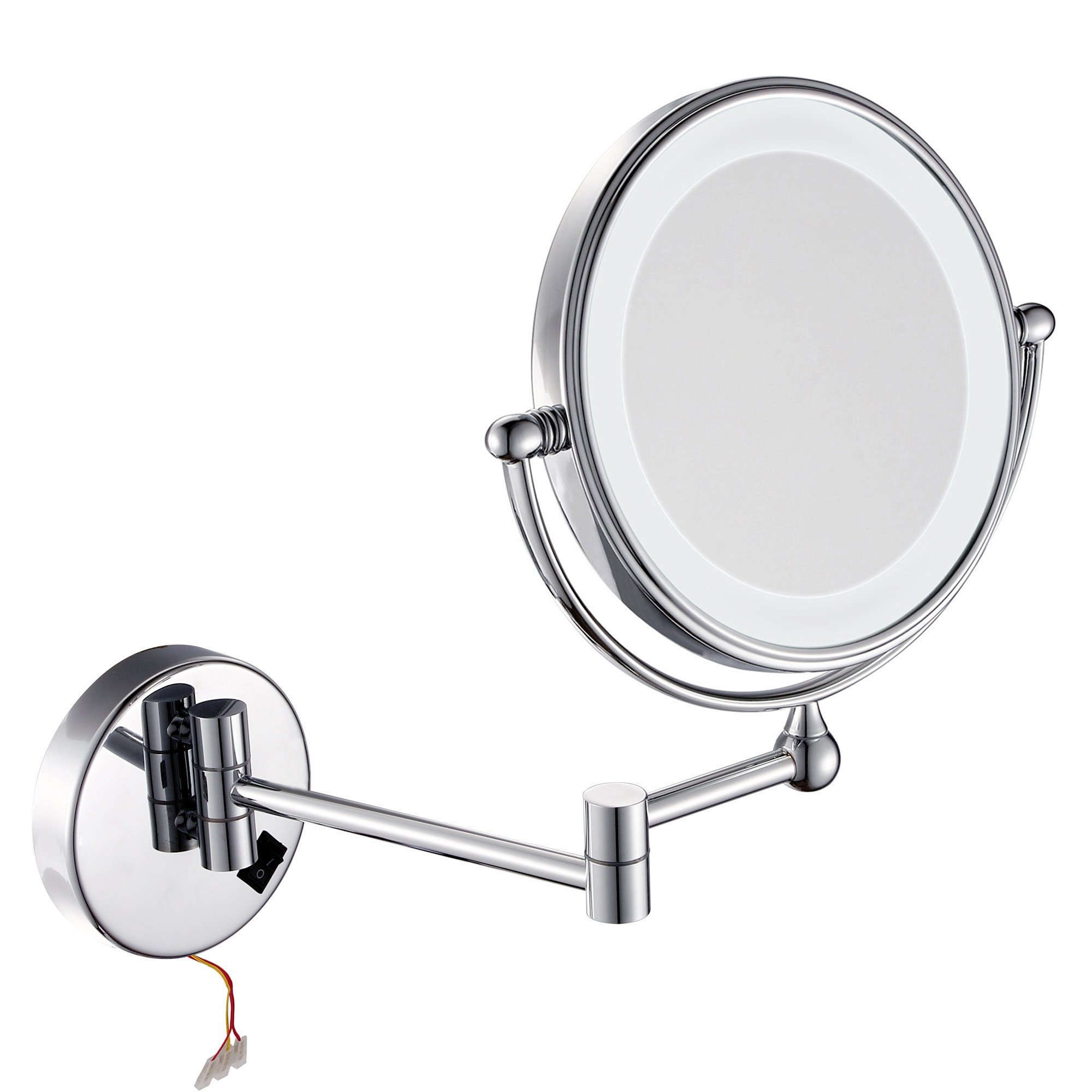 GuRun Wall Mount Magnifying Mirror With Light,7x Magnification,8 inches,Chrome Finish M1805D (8 inch switch,7)