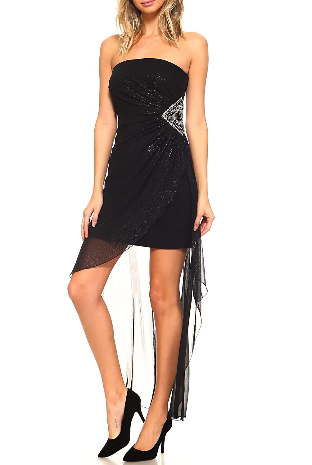ee39771bf Amazon.com: Teeze Me Juniors Strapless Glitter Embellished Cutout Side High-Low  Dress: Clothing
