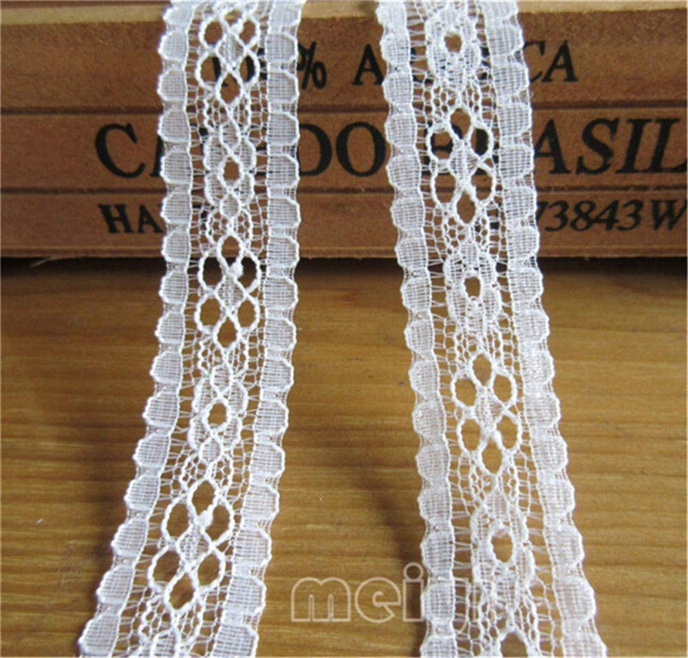 5 Yard Eyelet Strip Tape Scalloped Lace Edge Trim Ribbon 20mm Width Vintage Style White Edging Trimming Fabric Embroidered Applique Sewing Craft Wedding Bridal Dress Cards Gift DIY Clothes Decoration