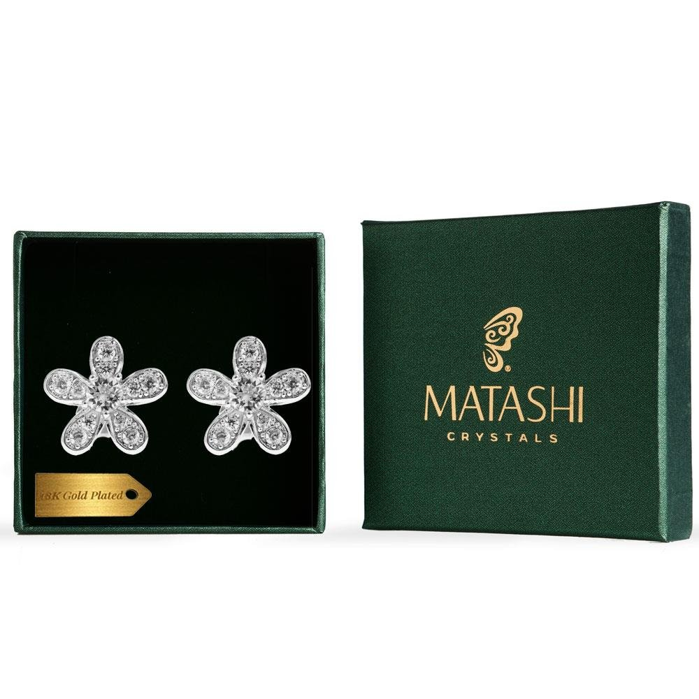 Matashi 18K White Gold Plated Jewelry Piece with Delicate 5 Petalled Flower Design and Crystals