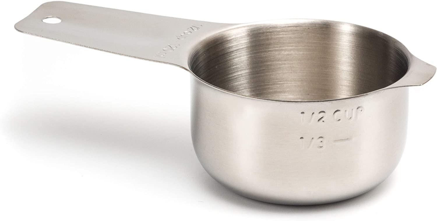 2lbDepot 1/2 Cup Measuring Cup Stainless Steel Metal, Accurate, Engraved Markings US & Metric (120 ml), Wet Liquids & Dry Food Ingredients for Kitchen Baking & Cooking, One Single Cup
