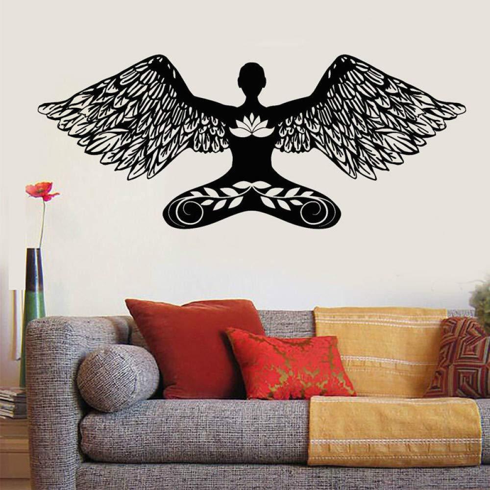Art Style Girl Angel Lotus Posture Wing Vinyl Tatuajes de pared ...