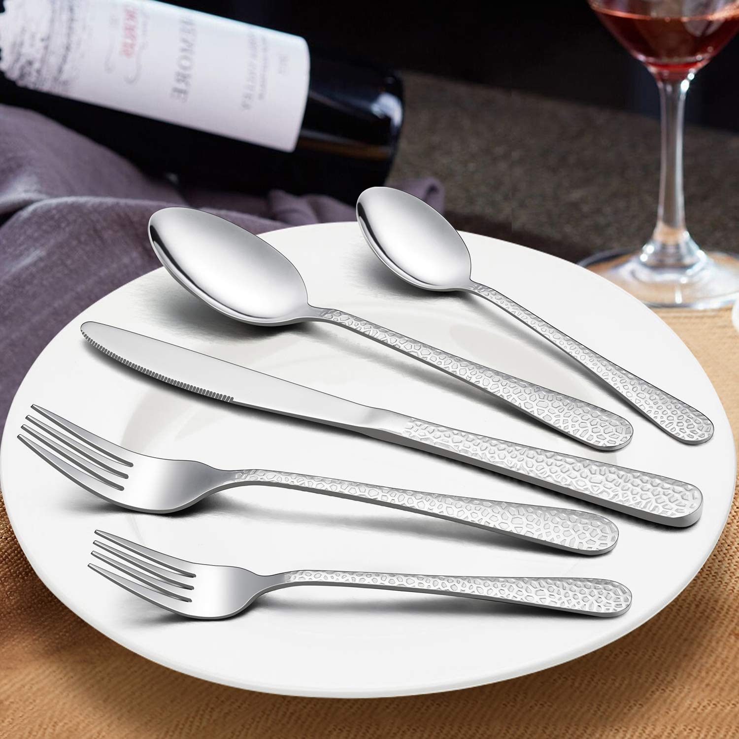 Hammered Silverware Set, LIANYU 40-Piece Stainless Steel Cutlery Flatware Set for 8, Tableware Eating Utensils, Mirror Finish, Dishwasher Safe by LIANYU (Image #3)