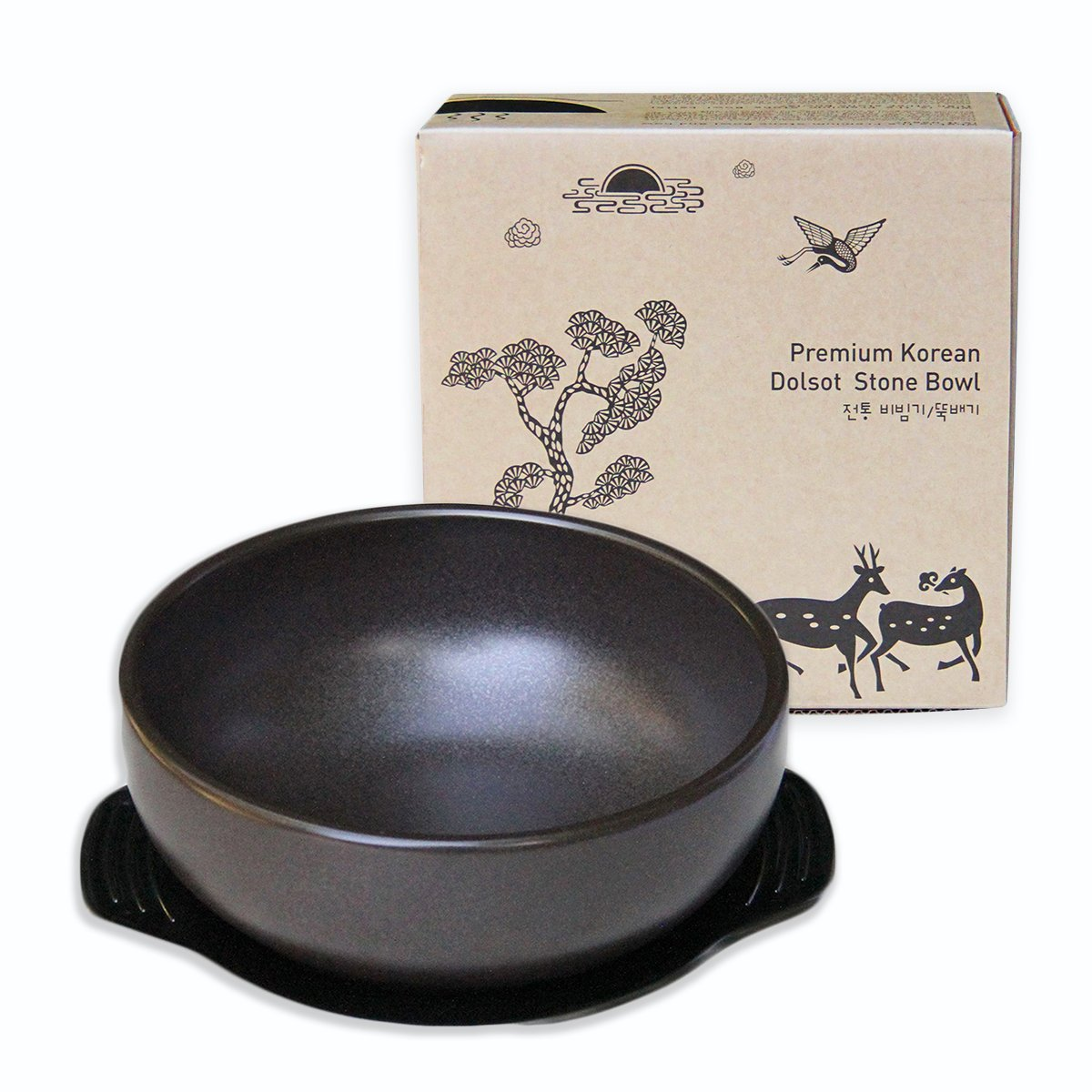 Crazy Korean Cooking Korean Stone Bowl (Dolsot), Sizzling Hot Pot for Bibimbap and Soup (Large, No Lid) - Premium Ceramic