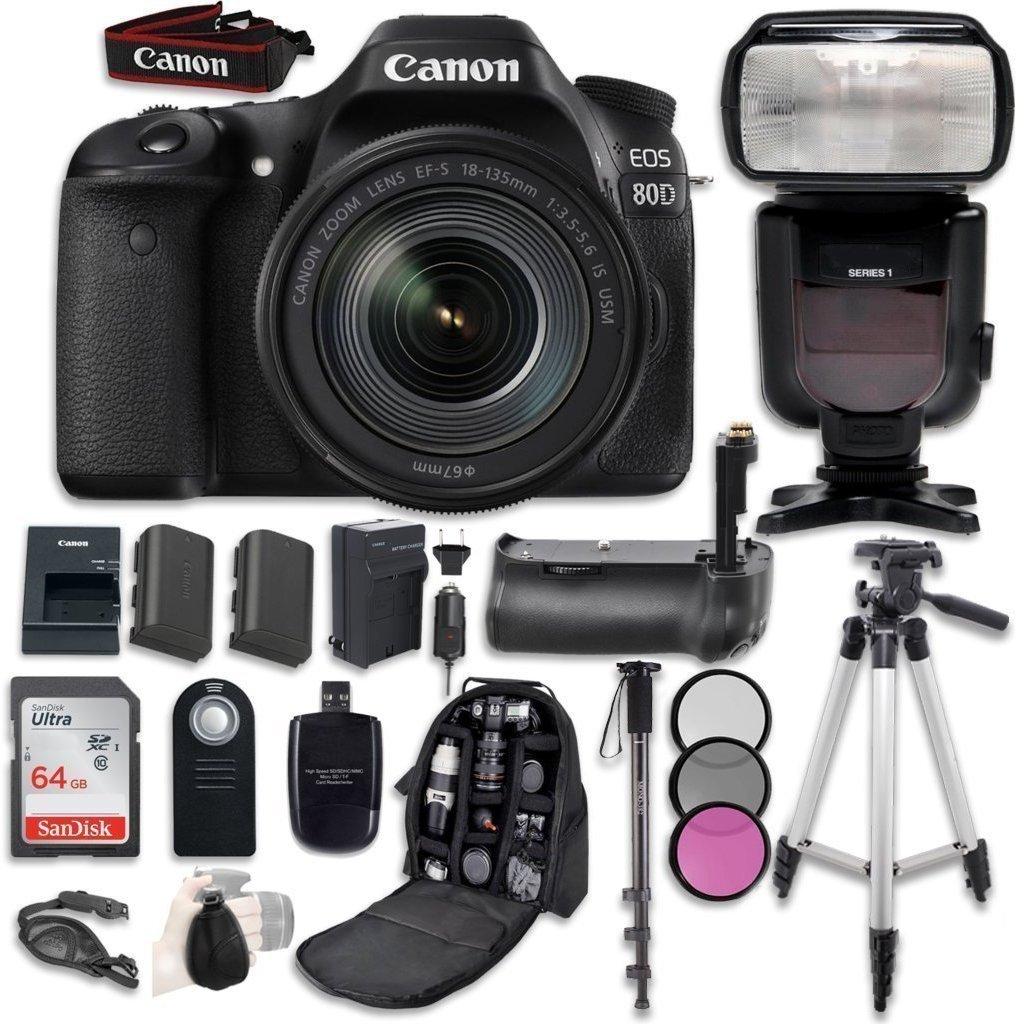 Canon Eos 80d Digital Slr Camera Bundle With Ef S 7d Mark Ii Kit 18 135mm Nano Usm Wifi Adapter W E1 F 35 56 Is Lens Professional Accessory 15 Items