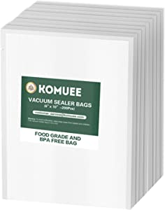 Vacuum Sealer Bags, KOMUEE 100 Pint Vacuum Sealer Storage Bags 6x10 Inch for Food Saver, Seal a Meal Sealers, Heavy Duty Commercial Grade, Sous Vide Vaccume Meal Safe, Universal Pre-Cut Bag