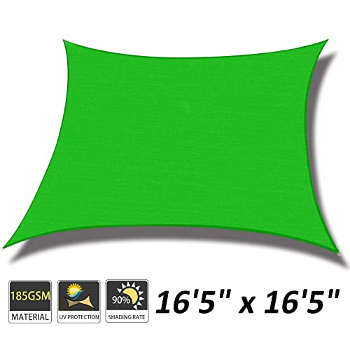 Cool Area 16 5 x 16 5 Square Sun Shade Sail for Patio Garden Outdoor, UV Block Canopy Awning, Lime Green