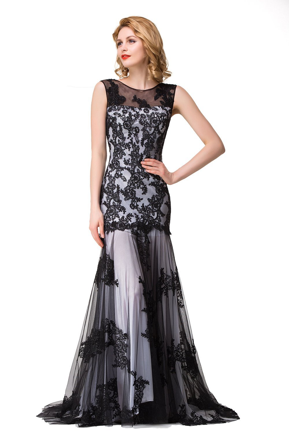 Babyonlinedress black lace applique silver Mermaid style evening gowns,Silver,16