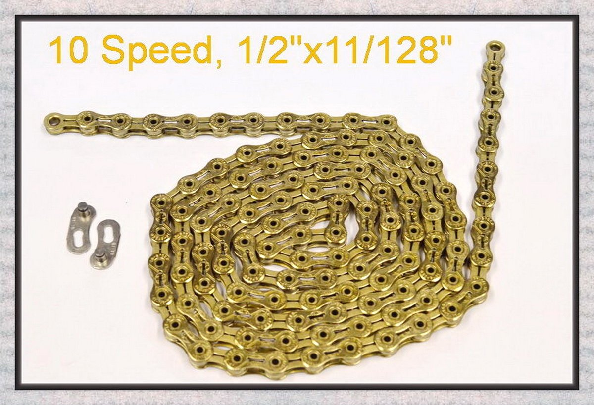 Ybn Ti Gold 10 Speed Bicycle Chain Sports Outdoors Link