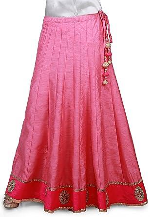 e11b8e458 Utsav Fashion Embroidered Patch Border Bhagalpuri Silk Long Skirt in Pink:  Amazon.in: Clothing & Accessories
