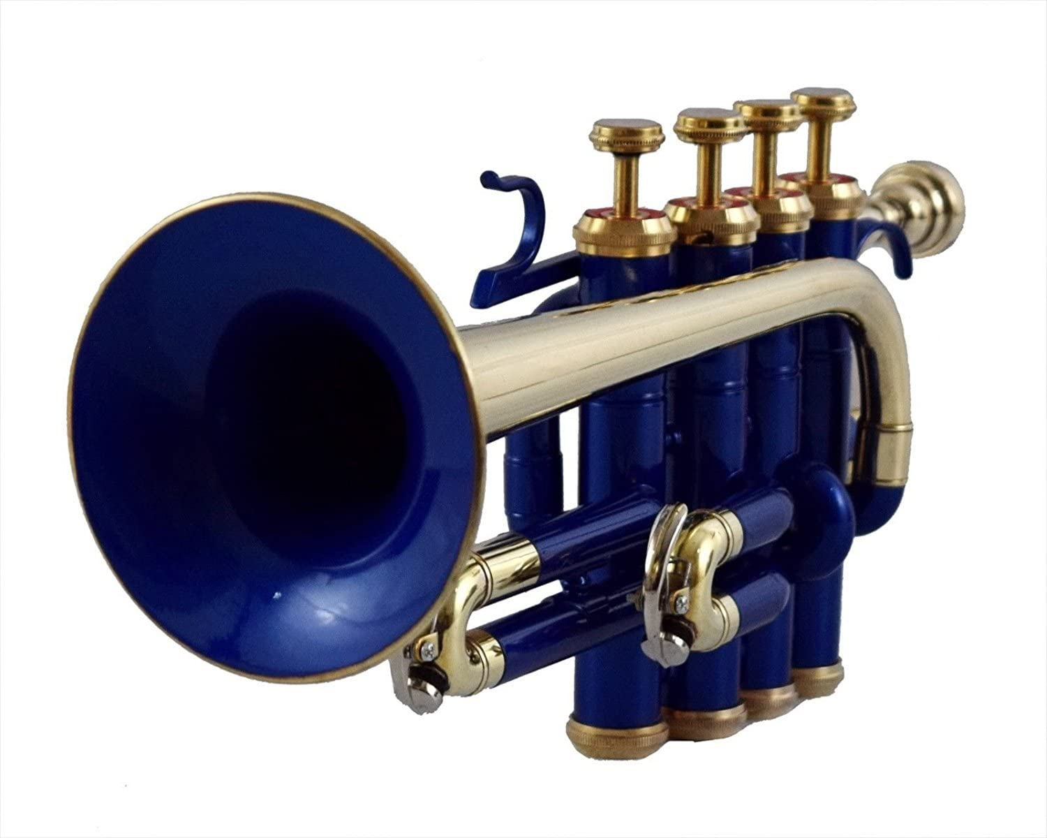 BRASS WITH HARD CASE AND MP SHREYAS PICCOLO TRUMPET Bb PITCH BLUE COLOR