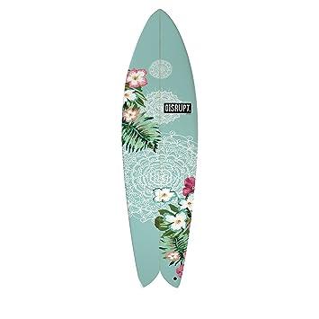 El Pescado Retro Tabla de surf, diseño de flores, ...