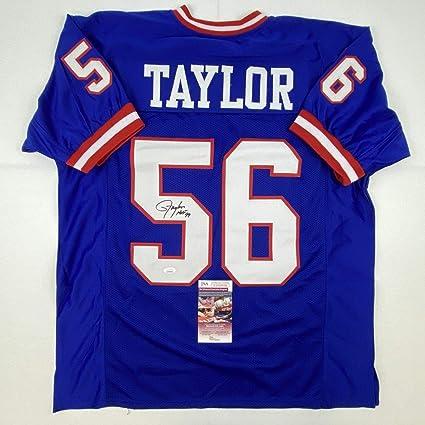 Autographed/Signed Lawrence Taylor HOF 99 New York Blue Football Jersey JSA COA