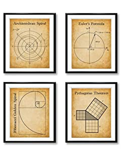 Math Art Prints-Archimedean Spiral, Euler's Formula, Fibonacci Golden Spiral, Pythagoras Theorem-Set of Four Photos (8x10) Unframed-Great Gift & Decor For Teachers, Classroom & Math Students Under $20