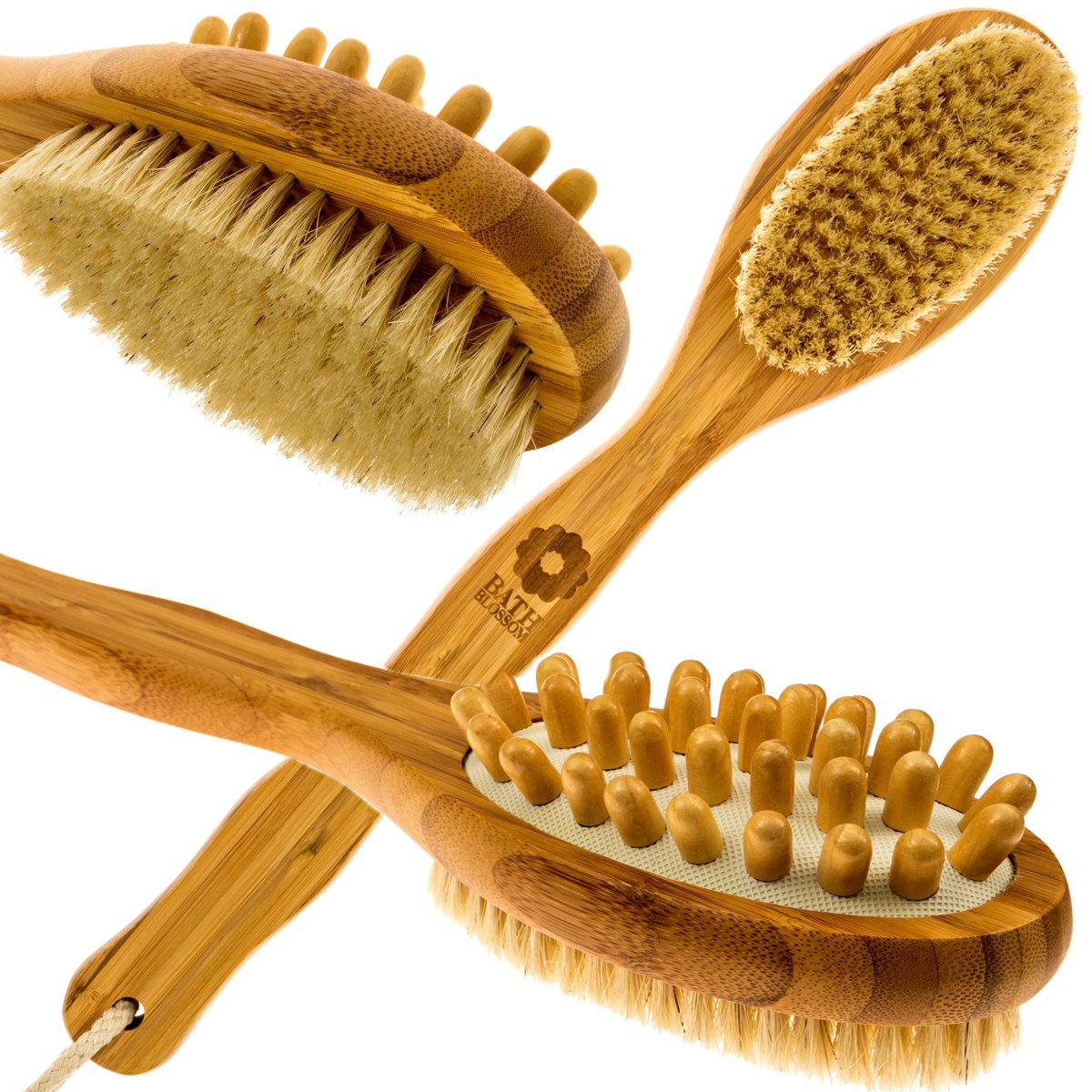 Bath Blossom Bamboo Body Brush for Back Scrubber - Natural Bristles Shower Brush with Long Handle - Excellent for Exfoliating Skin and Cellulite - Use Wet or Dry - Suitable for Men and Women