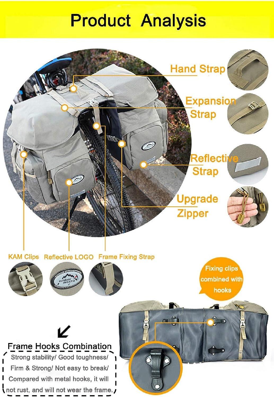 Inoxto 50 L, impermeable, doble trasero, incluye funda para lluvia con bolsa de hidrataci/ón de 2 litros, sin BPA, bolsa de hidrataci/ón opcional para ciclaje Bolsa para bicicleta trasera