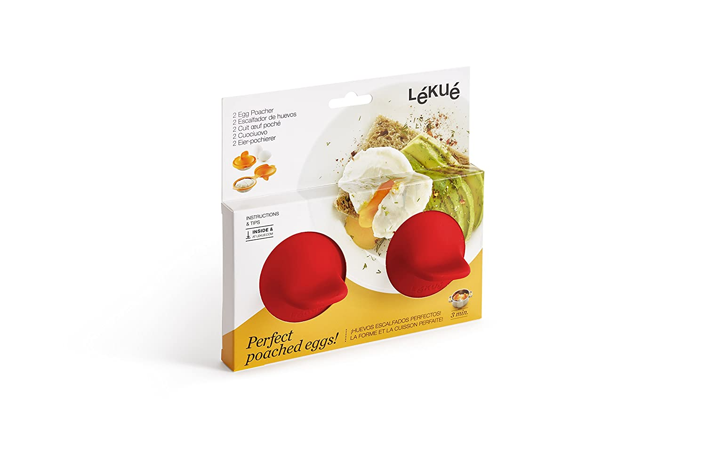 Lékué 3402900 Escalfador De Huevos, Silicona Platino, Rojo