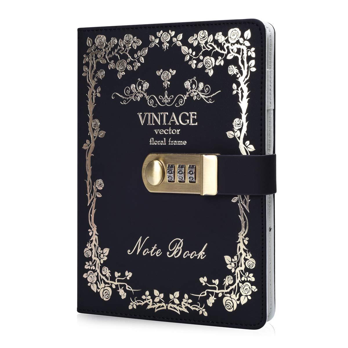 ARRLSDB Digital Password Lock Diary PU Leather Journal with Combination Lock (Diary with Combination Lock) Password Journal Locking Journal Diary (Black+Golden)