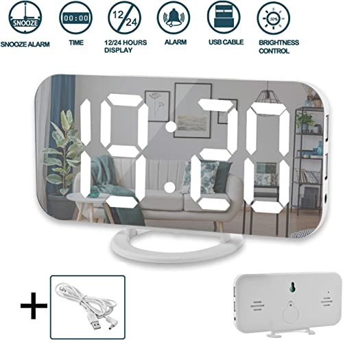 Digital Alarm Clock,6 Large LED Display with Dual USB Charger Ports Auto Dimmer Mode Easy Snooze Function, Modern Mirror Desk Wall Clock for Bedroom Home Office for All People