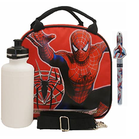Amazon.com: Spiderman Lunch Bag with a Water Bottle - Red ...