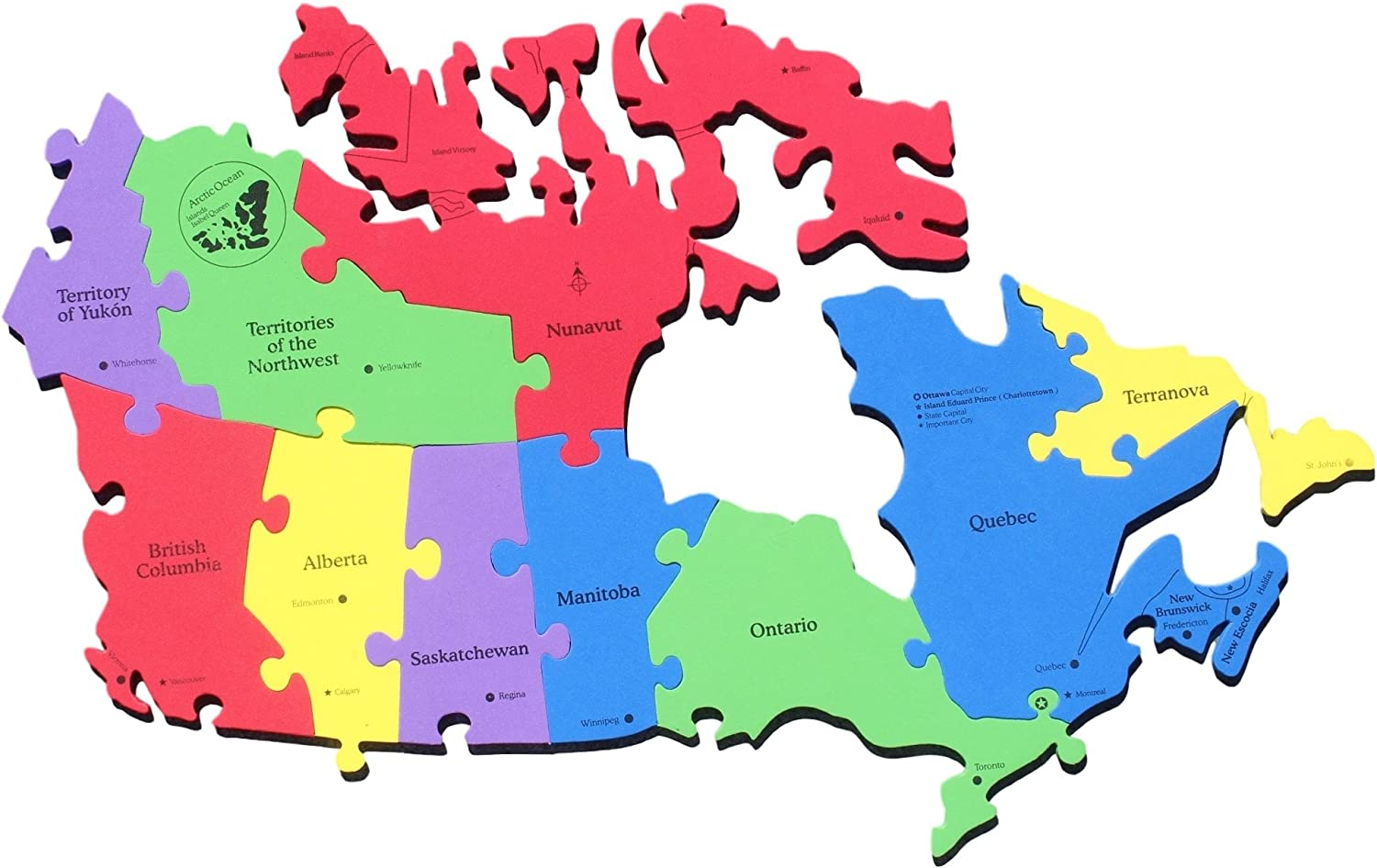 Canada Map Puzzle Canada Provinces And Territories Capital Cities