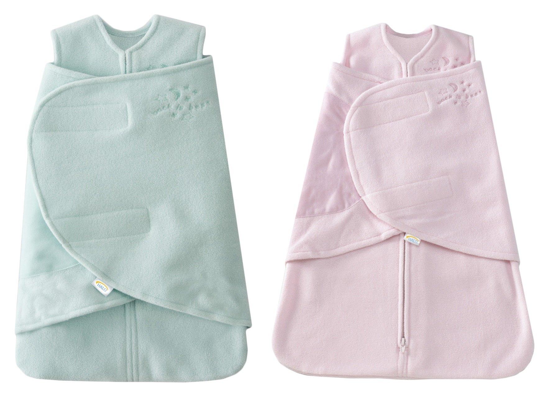 HALO SleepSack Micro-Fleece Swaddle, Mint / Pink, Preemie 2-Pack