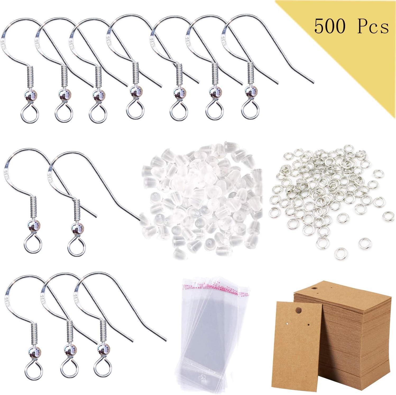 900 Pcs Earring Making Supplies Kit including Hypoallergenic Earring Hooks,Jump Rings,Earring Cards Holder,Earring Backs,Self-Seal Bags for Earrings Making
